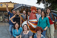 Twitter group that helped Andrew Nelson--photographed on Caya Ocho in Little Havana where the Cuban culture is lively on the street..Left to right.Front row: Hoby Buppert, Liza Gallardo Walton (in black-blonde), Hilda Mitrani (blue t dark hair) , Maria de Los Angeles, Paula Nino, Gretchen Schmidt (red head)..Second Row: Christina Staalstrom, Alex de Carvalho, Steve Berry, Corinna Moebius