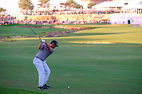 Jon Rahm (ESP) on the 18th during the 2nd round of the DP World Tour Championship, Jumeirah Golf Estates, Dubai, United Arab Emirates. 22/11/2019<br /> Picture: Golffile | Fran Caffrey<br /> <br /> <br /> All photo usage must carry mandatory copyright credit (© Golffile | Fran Caffrey)