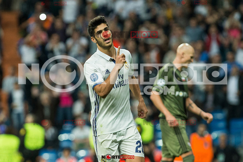 Real Madrid's Marco Asensio during the match of UEFA Champions League group stage between Real Madrid and Legia de Varsovia at Santiago Bernabeu Stadium in Madrid, Spain. October 18, 2016. (ALTERPHOTOS/Rodrigo Jimenez) /NORTEPHOTO.COM
