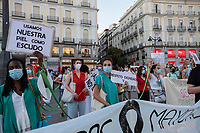 MADRID, SPAIN - JUNE 29: Protesters, keeping a distance security between them,  during a demonstration held in the afternoon in Puerta del Sol to request better working conditions, protection equipment and investment in Health to fight against the covid-19 on June 29 2020, in Madrid, Spain. The region of Madrid was the main focus of covid-19 outbreak in Spain. In al over the country, more than 50000 thousand health staff has been infected with the coronavirus since the beginning of the pandemic.(Photo by Sergio Belena/VIEWpress via Getty Images).