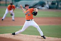 Baltimore Orioles pitcher Michael Baumann (80) delivers a pitch during an Instructional League game against the Pittsburgh Pirates on September 27, 2017 at Ed Smith Stadium in Sarasota, Florida.  (Mike Janes/Four Seam Images)