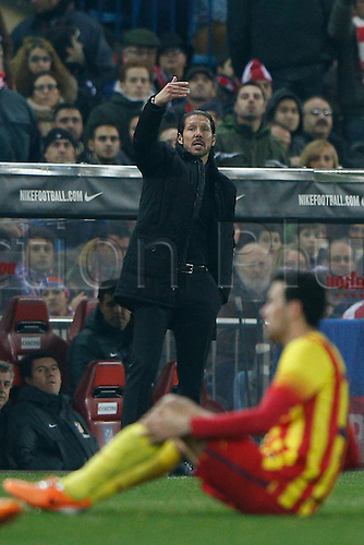 11.01.2014 Madrid, Spain. Atletico de Madrid versus F.C. Barcelona at Vicente Calderon stadium.  Diego Pablo Simeone coach of Atletico de Madrid