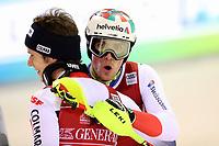 January 8th 2020, Madonna di Campiglio, Italy; FIS Alpine Ski World Cup Men's Night Slalom in Madonna di Campiglio, Italy on January 8, 2020,<br /> Clement Noel (FRA), Daniel Yule (SUI) celebrate their win