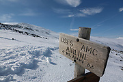 Trail junction of the Gulfside Trail (Appalachian Trail ) and the Airline Trail in the New Hampshire White Mountains during the winter months.