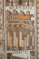 Detail of a Byzantine floor mosaic depicting Neapolis (modern day Nablus), possibly with the Theotokos church on Mount Gerizim, from the cycle showing 15 major cities of the Holy Land from both east and west of the River Jordan, 756-785 AD, from the Church of St Stephen, Umm ar-Rasas, Amman, Jordan. Six mosaic masters signed the mosaic floor, Staurachios from Esbus, Euremios, Elias, Constantinus, Germanus and Abdela. They completed the mosaics at the time of Bishop Sergius II in honour of St Stephen. The church has an apse and an elevated presbytery and forms part of an ecclesiastical complex of 4 churches. Umm ar-Rasas is a rectangular walled city which grew from a Roman military camp in the Jordanian desert. Its remains date from the Roman, Byzantine and Umayyad periods (3rd - 9th centuries), including 16 churches with mosaic floors. Excavations began in 1986, although most of the site remains unexplored. It was declared a UNESCO World Heritage Site in 2004. Picture by Manuel Cohen