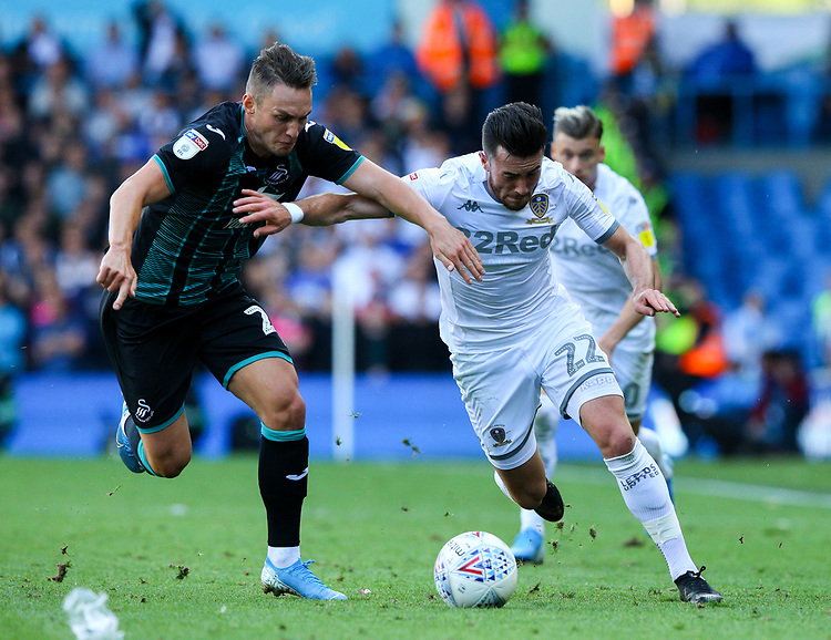 Leeds United's Jack Harrison vies for possession with Swansea City's Connor Roberts<br /> <br /> Photographer Alex Dodd/CameraSport<br /> <br /> The EFL Sky Bet Championship - Leeds United v Swansea City - Saturday 31st August 2019 - Elland Road - Leeds<br /> <br /> World Copyright © 2019 CameraSport. All rights reserved. 43 Linden Ave. Countesthorpe. Leicester. England. LE8 5PG - Tel: +44 (0) 116 277 4147 - admin@camerasport.com - www.camerasport.com