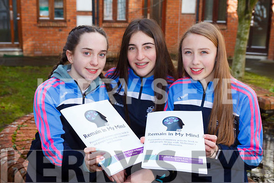 Students from Presentation Secondary, Tralee,  are launching their book 'Remain In My Mind', an activity book to help people with Alzheimers. Pictured l-r were: Kate Hennessy, Erin Moss and Rachel Kilgallen.