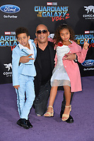Vin Diesel &amp; Children at the world premiere for &quot;Guardians of the Galaxy Vol. 2&quot; at the Dolby Theatre, Hollywood. <br /> Los Angeles, USA 19 April  2017<br /> Picture: Paul Smith/Featureflash/SilverHub 0208 004 5359 sales@silverhubmedia.com