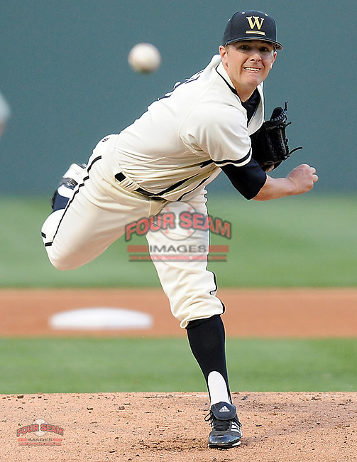 Starting pitcher Brandon Yarusi (16) of the Wofford College Terriers pitches in the first inning in a game against the Presbyterian College Blue Hose on March 8, 2012, at Fluor Field in Greenville, South Carolina. (Tom Priddy/Four Seam Images)