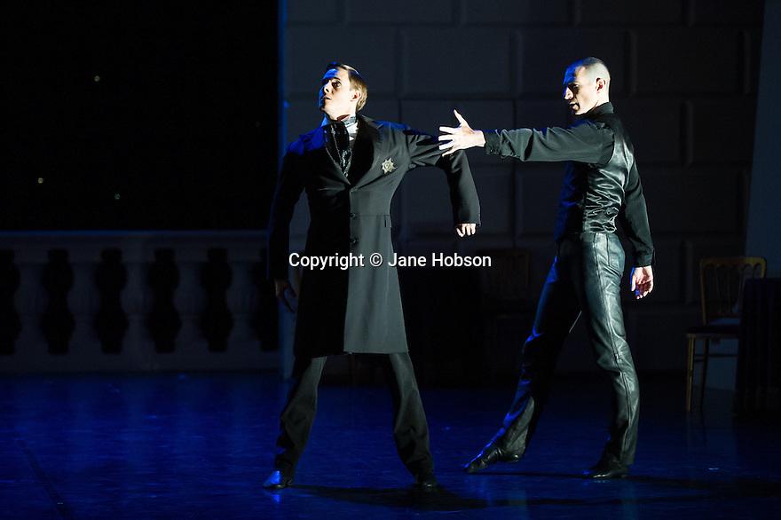 London, UK. 05.12.2013. Matthew Bourne's SWAN LAKE returns to Sadler's Wells. Jonathan Ollivier dances The Swan, with Sam Archer as The Prince. Photograph © Jane Hobson.