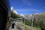 View of the Matterhorn from the Gornergrat train, Zermatt, Switzerland.