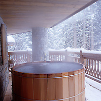 The hot tub on another of the chalet's balconies is a great place to enjoy a bottle of champagne at the end of a day's skiing and seats six people comfortably