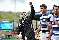 Anthony Perenise celebrates with the crowd after the match. Amlin Challenge Cup semi-final, between London Wasps and Bath Rugby on April 27, 2014 at Adams Park in High Wycombe, England. Photo by: Patrick Khachfe / Onside Images