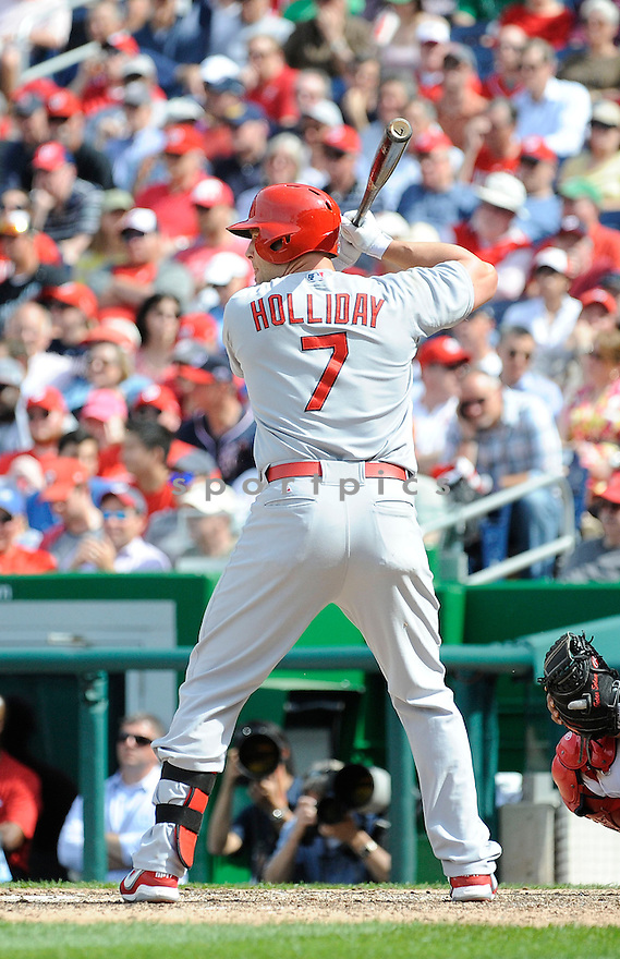 St. Louis Cardinals Matt Holliday (7) during a game against the Washington Nationals on April 24, 2013 at Nationals Park in Washington DC. The Cardinals beat the Nationals 4-2.