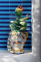 A ceramic cactus in a jocular vase adorns the concrete shelf of the outdoor shower