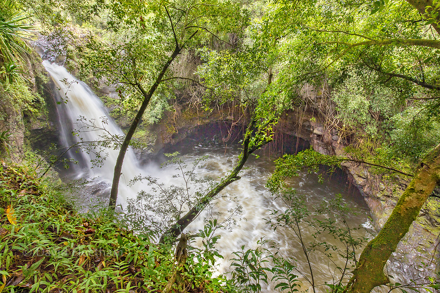 A two mile hike from the main road through a bamboo forest takes you to this, one of the many waterfalls that run through Oheo Gulch, located near Hana in Haleakala National Park, Maui, Hawaii.