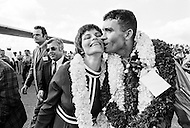 18 Apr 1970, Honolulu, Oahu, Hawaii, USA --- Apollo 13 lunar module pilot Fred Haise kisses his wife, Mary, following the return of the crew in Honolulu. The crew was forced to make an emergency return following an explosion aboard the craft. --- Image by © JP Laffont