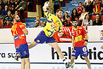 Spain's Joan Canellas (l) and Eduardo Gurbindo (r) and Bosnia Herzegovina's Senjamin Buric during 2018 Men's European Championship Qualification 2 match. November 2,2016. (ALTERPHOTOS/Acero)