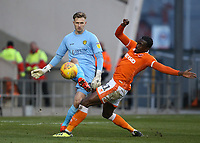 Burton Albion's goalkeeper Bradley Collins clears as Blackpool's Joe Dodoo challenges <br /> <br /> Photographer Stephen White/CameraSport<br /> <br /> The EFL Sky Bet League One - Blackpool v Burton Albion - Saturday 24th November 2018 - Bloomfield Road - Blackpool<br /> <br /> World Copyright © 2018 CameraSport. All rights reserved. 43 Linden Ave. Countesthorpe. Leicester. England. LE8 5PG - Tel: +44 (0) 116 277 4147 - admin@camerasport.com - www.camerasport.com