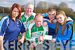 Killarney No Name club presents a cheque to James Looney and Brendan Coffey who are cycling to Lourdes at Easter to raise funds for the Irish Pilgrimage Trust l-r: Niamh Collins, Brendan Coffey, James Looney, Jonas Lyne and Mereassa Musgrave..