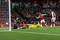 Theo Walcott of Arsenal scores his team's second goal of the game to make the score 2-0 during the UEFA Europa League match between Arsenal and FC BATE Borisov  at the Emirates Stadium, London, England on 7 December 2017. Photo by David Horn.