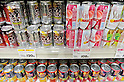 "Tokyo, Japan - Colorful canned alcoholic drinks are on the shelves at a store in Tokyo. Chu-hi, which is a type of a alcoholic drink, is a favorite among many Japanese people. The name, ""Chu-hi"" is a derived form of a combination of ""shochu and highball."" Chu-hi companies often launch limited edition themed drinks to celebrate the different seasons in Japan.(Photo by Yumeto Yamazaki/AFLO)"