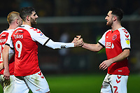 Fleetwood Town's Ched Evans celebrates scoring his side's third goal with team-mate Lewis Coyle<br /> <br /> Photographer Richard Martin-Roberts/CameraSport<br /> <br /> The EFL Sky Bet League One - Fleetwood Town v Coventry City - Tuesday 27th November 2018 - Highbury Stadium - Fleetwood<br /> <br /> World Copyright &not;&copy; 2018 CameraSport. All rights reserved. 43 Linden Ave. Countesthorpe. Leicester. England. LE8 5PG - Tel: +44 (0) 116 277 4147 - admin@camerasport.com - www.camerasport.com