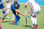 GER - Mannheim, Germany, April 15: During the field hockey 1. Bundesliga match between Mannheimer HC (blue) and Rot-Weiss Koeln (white) on April 15, 2018 at Am Neckarkanal in Mannheim, Germany. Final score 2-2. (Photo by Dirk Markgraf / www.265-images.com) *** Local caption *** Gonzalo Peillat #2 of Mannheimer HC