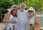 Washington, CT- 081217MK16 (from left) Marilyn Matern-Bratz, Gary Smith and Eileen Smyth gathered at the 20th annual Tea for Two Hundred at the home of Gael Hammer and Gary Goodwin in Washington Saturday afternoon. Event proceeds will benefit Gunn Historical Museum and Interfaith AIDS Ministry of Greater Danbury. Michael Kabelka / Republican-American