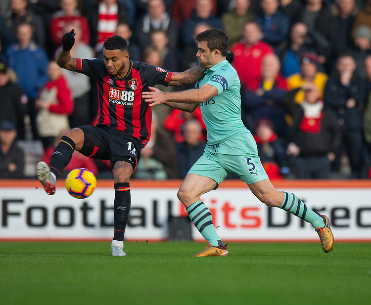 Arsenal's Sokratis Papastathopoulos (right) battles with Bournemouth's Joshua King (left) <br /> <br /> Photographer David Horton/CameraSport<br /> <br /> The Premier League - Bournemouth v Arsenal - Sunday 25th November 2018 - Vitality Stadium - Bournemouth<br /> <br /> World Copyright © 2018 CameraSport. All rights reserved. 43 Linden Ave. Countesthorpe. Leicester. England. LE8 5PG - Tel: +44 (0) 116 277 4147 - admin@camerasport.com - www.camerasport.com