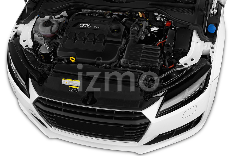 Car Stock 2015 Audi TT Coupe S Line 3 Door Coupe Engine  high angle detail view