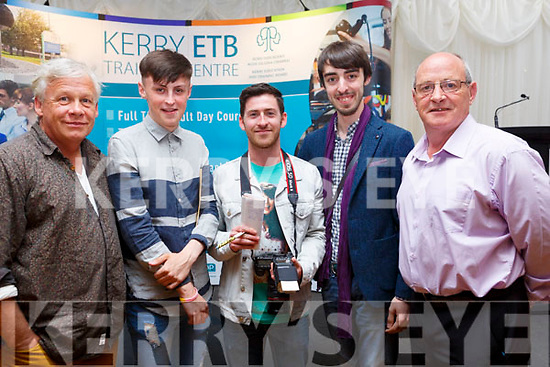 Jim Toomey (Instructor) Conor Gadbury, Huge Maguire, Roman Puech and Paddy White graduating at the ETB Graduation ceremony in the Rose Hotel on Thursday evening.