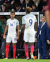 Dominic Calvert-Lewin (Everton) of England U21 replaces Tammy Abraham (Swansea City (on loan from Chelsea) of England U21 as England U21 Head Coach (Manager) Aidy Boothroyd looks on during the UEFA EURO U-21 First qualifying round International match between England 21 and Latvia U21 at the Goldsands Stadium, Bournemouth, England on 5 September 2017. Photo by Andy Rowland.