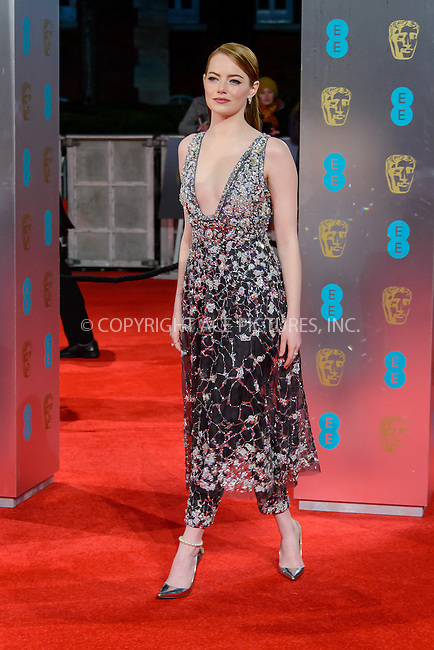 www.acepixs.com<br /> <br /> February 12 2017, London<br /> <br /> Emma Stone arriving at the 70th EE British Academy Film Awards (BAFTA) at the Royal Albert Hall on February 12, 2017 in London, England<br /> <br /> By Line: Famous/ACE Pictures<br /> <br /> <br /> ACE Pictures Inc<br /> Tel: 6467670430<br /> Email: info@acepixs.com<br /> www.acepixs.com