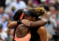 FLUSHING NY- SEPTEMBER 09: ***NO NY DAILIES*** Sloane Stephens is hugged by Madison Keys after Stephens wins the US Open. Stephens defeats Keys in straight sets 6-3, 6-0 during the Womens finals on Arthur Ashe Stadium at the US Open in the USTA Billie Jean King National Tennis Center on September 9, 2017 in Flushing Queens. <br /> CAP/MPI04<br /> &copy;MPI04/Capital Pictures