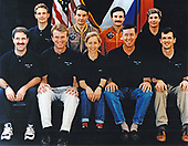 The Mir-24 crew assigned to duty aboard Russia's Mir Space Station poses with the STS-81 crew. The cosmonauts are Valeri G. Korzun and Aleksandr Y. Kaleri , in the middle of the top row. The astronauts are, front row (left to right) John W. Grunsfeld, Brent W. Jett, Jr., Marsha S. lvins, Michael A. Baker and Peter J. K. (Jeff) Wisoff. Flanking the Mir-24 cosmonauts on the back row are astronauts Jerry M. Linenger (left) and John E. Blaha. All the STS-81 crew members except Blaha are scheduled to be launched in December, 1996, aboard the<br /> Space Shuttle Atlantis and those six will be joined by Mir-22 cosmonaut researcher Blaha when the two spacecraft are joined in Earth-orbit. Blaha will have been launched into Earth-orbit to connect with Russia's Mir Space Station on an earlier mission - STS-79 - of the Space Shuttle Atlantis, scheduled for launch in the summer of 1996. Linenger will remain onboard Mir for a tour of duty as a cosmonaut researcher.<br /> Credit: NASA via CNP
