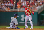 22 August 2015: Washington Nationals infielder Danny Espinosa turns a double-play to end the 5th inning against the Milwaukee Brewers at Nationals Park in Washington, DC. The Nationals defeated the Brewers 6-1 in the second game of their 3-game weekend series. Mandatory Credit: Ed Wolfstein Photo *** RAW (NEF) Image File Available ***