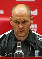 Preston North End manager Alex Neil answers questions in a press conference after the match<br /> <br /> Photographer Alex Dodd/CameraSport<br /> <br /> The EFL Sky Bet Championship - Middlesbrough v Preston North End - Tuesday 1st October 2019  - Riverside Stadium - Middlesbrough<br /> <br /> World Copyright © 2019 CameraSport. All rights reserved. 43 Linden Ave. Countesthorpe. Leicester. England. LE8 5PG - Tel: +44 (0) 116 277 4147 - admin@camerasport.com - www.camerasport.com