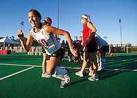 STANFORD, CA - September 3:  Stephanie Byrne takes the field before a field hockey match against UC Davis, September 3, 2010 in Stanford, California. Stanford won 3-1.