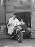 Sumo Fighter YOSHIBAYAMA and Harley-Davidson with sidecar (with his wife in). His supporter's organization has gifted it to him.