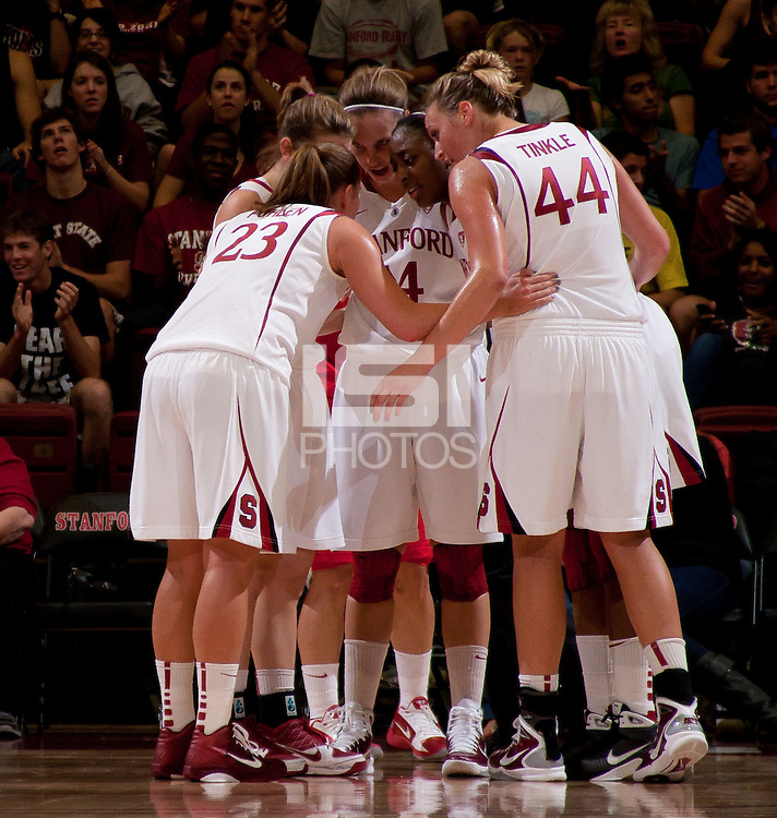 STANFORD, CA - November 14, 2010: Team during a basketball game against Rutgers at Stanford University in Stanford, California. Stanford won 63-50.
