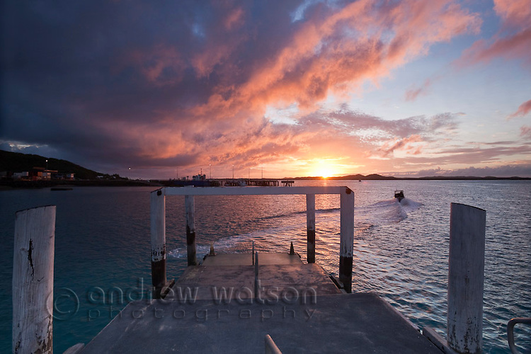 View of sunrise from Engineers Wharf.  Thursday Island, Torres Strait Islands, Queensland, Australia