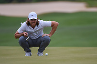 Tommy Fleetwood (ENG) lines up his putt on 15 during day 3 of the WGC Dell Match Play, at the Austin Country Club, Austin, Texas, USA. 3/29/2019.<br /> Picture: Golffile | Ken Murray<br /> <br /> <br /> All photo usage must carry mandatory copyright credit (© Golffile | Ken Murray)