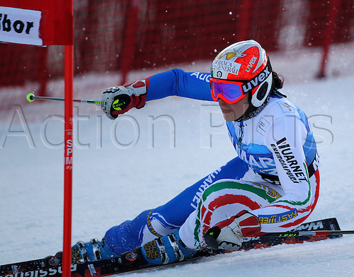 Federica Brignone of Italy skiing in first run of Women giant slalom race of Audi FIS alpine skiing World Cup in Maribor, Slovenia. Giant slalom race of Women Audi FIS Alpine skiing World Cup 2010-11, was held on Saturday, 15th of January 2011, in Maribor, Slovenia..