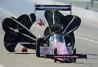 Oct. 28, 2012; Las Vegas, NV, USA: NHRA top fuel dragster Antron Brown during the Big O Tires Nationals at The Strip in Las Vegas. Mandatory Credit: Mark J. Rebilas-