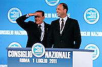 SILVIO BERLUSCONI ED IL NEO ELETTO SEGRETARIO DEL PDL ANGELINO ALFANO.Roma 01/07/2011 Consiglio Nazionale del PDL..Photo Samantha Zucchi Insidefoto