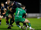 9th February 2018, Galway Sportsground, Galway, Ireland; Guinness Pro14 rugby, Connacht versus Ospreys; Rob McCusker (Ospreys) tackled by Denis Coulson (Connacht)