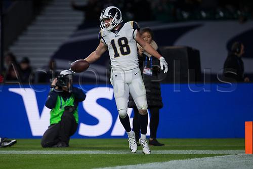 22nd October 2017, Twickenham, London, England; NFL International Series, Game Three, Arizona Cardinals versus LA Rams; Cooper Kupp scores a touchdown