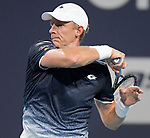 March 28, 2019: Kevin Anderson (RSA) is defeated by Roger Federer (SUI) 0-6, 4-6, at the Miami Open being played at Hard Rock Stadium in Miami, Florida. ©Karla Kinne/Tennisclix 2010/CSM