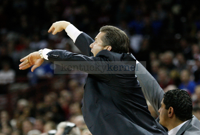 UK head coach John Calipari yells at his players against South Carolina at Colonial Life Arena on Saturday, Jan. 22, 2011. Photo by Scott Hannigan | Staff